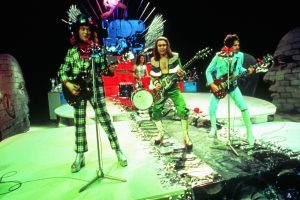 SLADE UK group on a Dutch TV show about 1973 From left Noddy Holder Don Powell on drums Dave Hill and Jimmy Lea