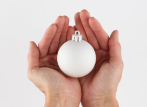 A bauble that has been primed in white