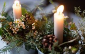 Foliage with candles