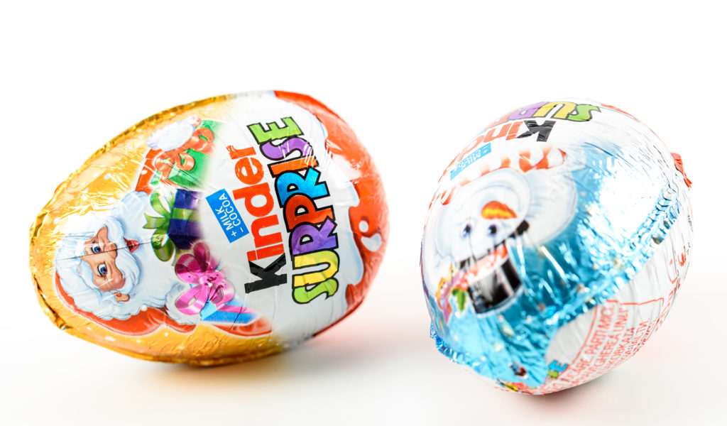 2 Christmas themed Kinder eggs in foil