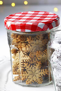 Jar of spiced sugar snowflakes - look like ginger biscuits. Bonne Maman mini festive treats