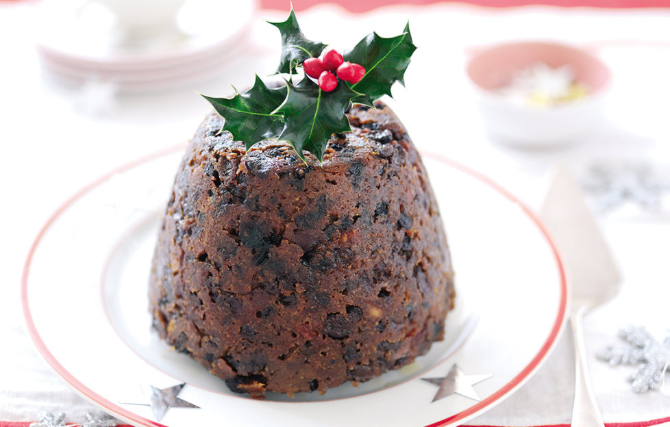 Christmas pudding with a sprig of holly