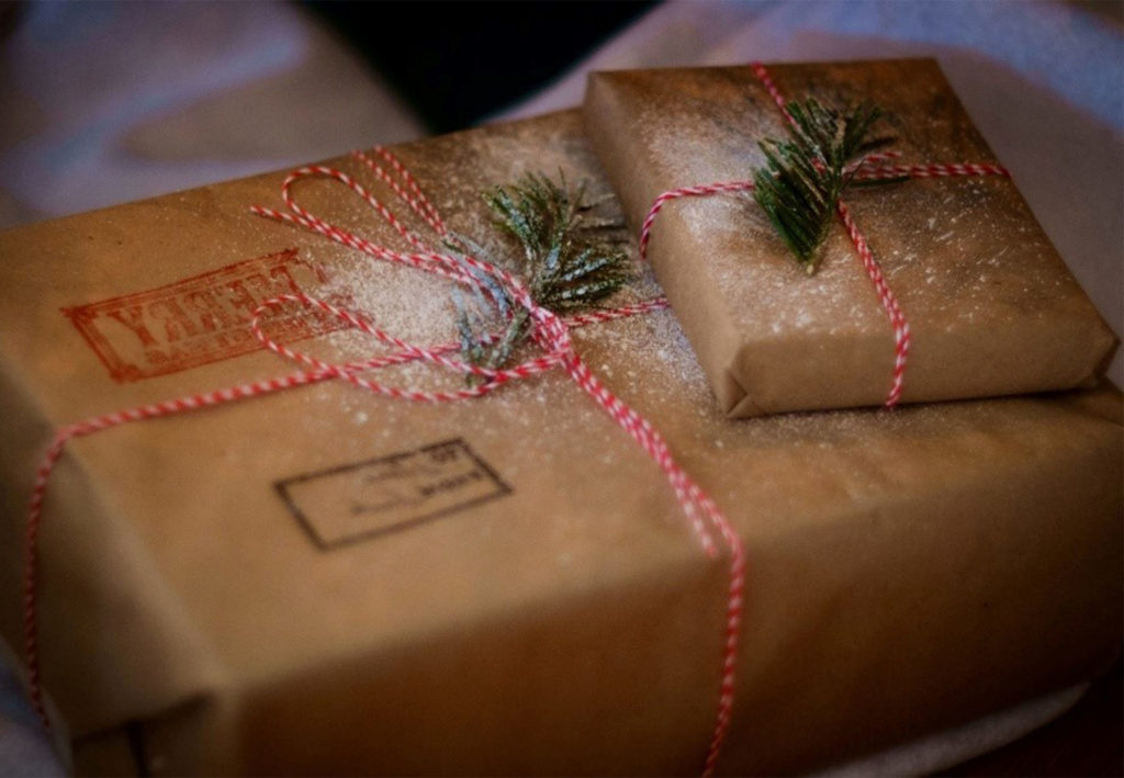 Parcel wrapped in brown paper and string