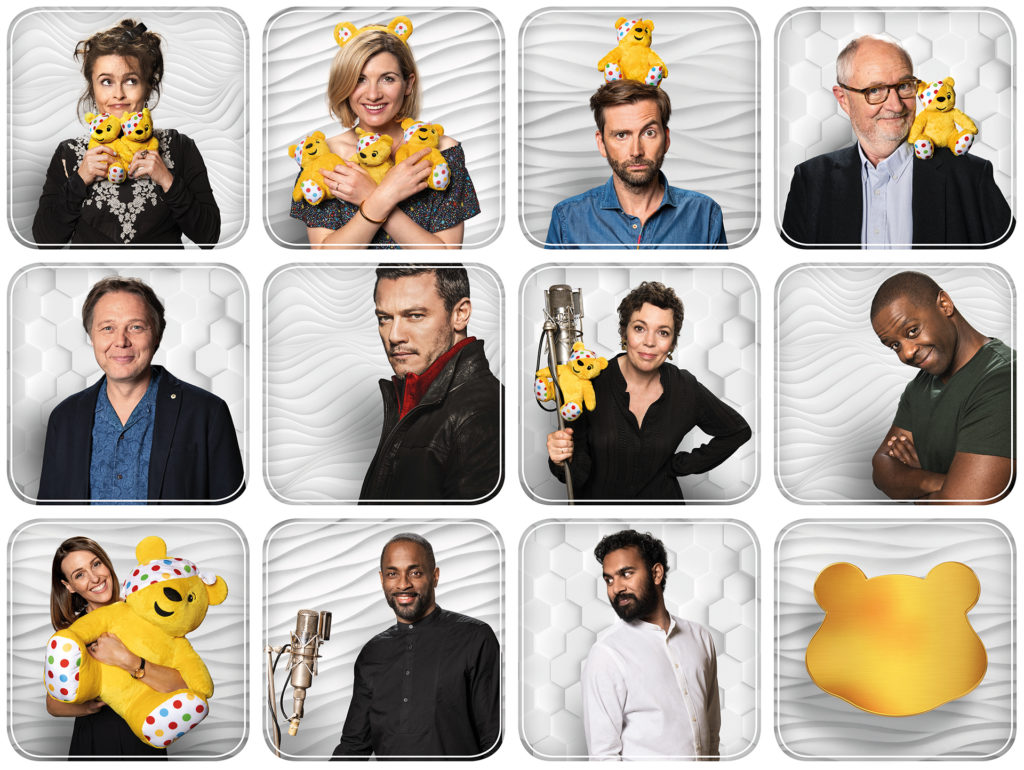 People involved in the album, small individual photos, most with a Pudsey teddy bear