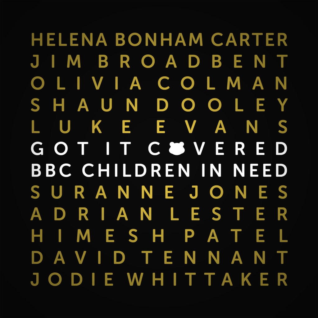 Album cover, black with names of contributors in gold and title in white
