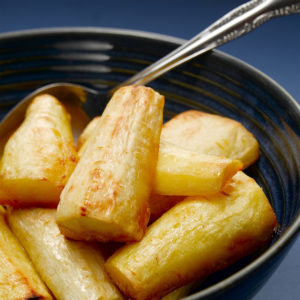 Roasted parsnips in a dish