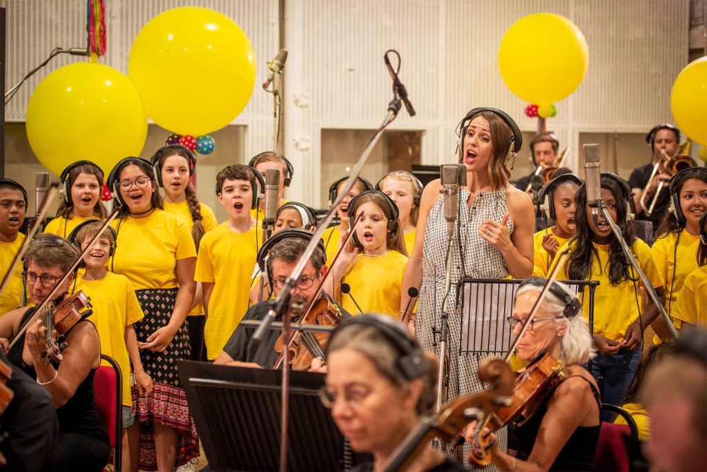 Suranne Jones records vocal with orchestra and children's choir