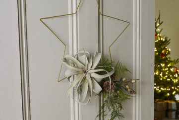 Wire star with foliage at bottom hanging on a door